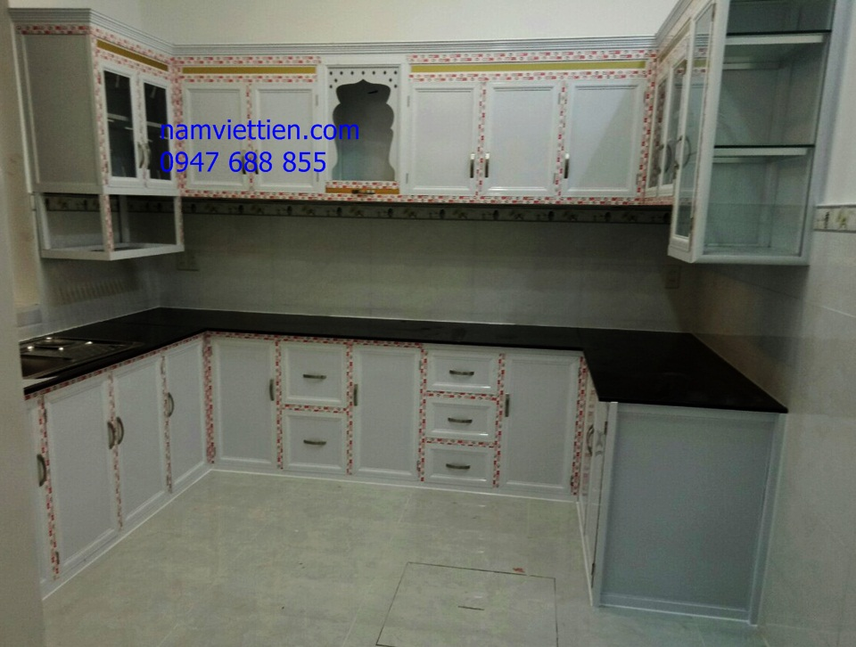 Tủ bếp nhôm kính sơn tĩnh điện cao cấp giá rẻ TPHCM