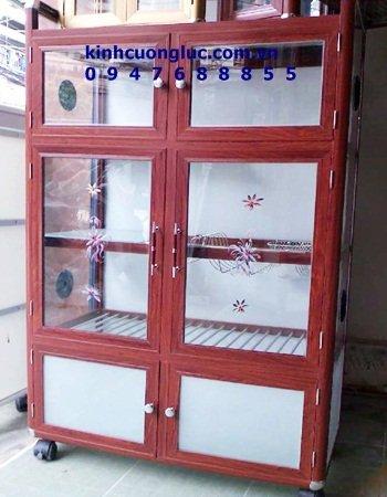 tủ đựng chén bát bằng nhôm giả gỗ