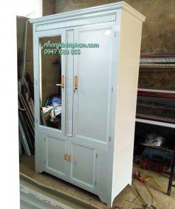 Tủ áo nhôm kính cao cấp sơn tĩnh điện